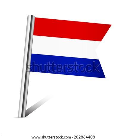 Netherlands flag pin on white - stock vector
