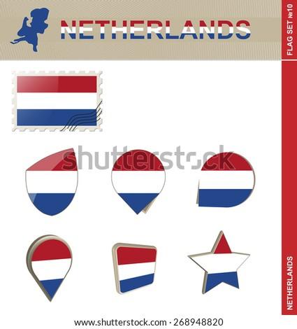Netherlands Flag Set, Flag Set #10. Vector. - stock vector