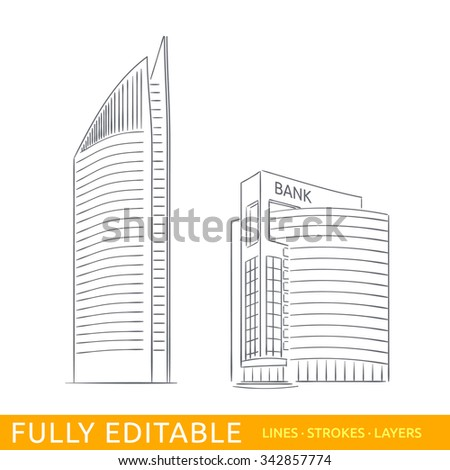 Netherlands, Hague, bank skyscrapers. Sketch line flat design of commerce architecture. Modern vector illustration concept. Fully editable outlines, saved brushes and layers. - stock vector