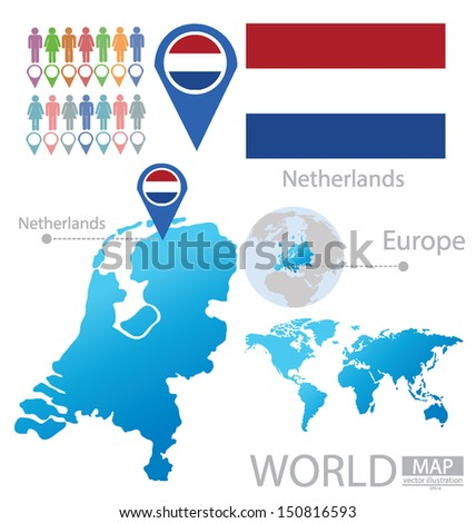 Netherlands. Holland. flag. World Map. vector Illustration.