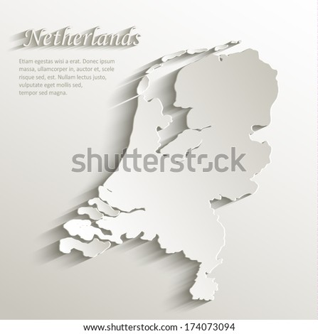Netherlands Holland map card paper 3D natural vector  - stock vector