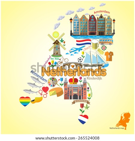 Netherlands map. Set vector symbols and icons in form of map - stock vector