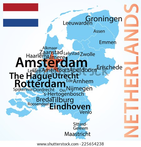 Netherlands - map with largest cities, carefully scaled text by city population.