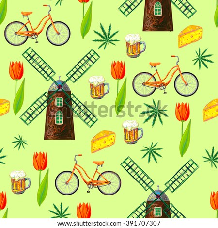 Netherlands seamless pattern with windmill, bicycle, cheese, beer, marijuana cannabis leafs and spring tulips. Perfect for wallpapers, pattern fills, web page backgrounds, surface textures, textile