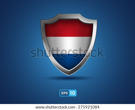 Netherlands shield on the blue background - stock vector