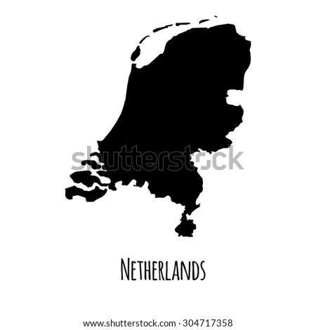 Netherlands vector black outline map with caption on white background.  - stock vector