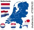 Netherlands vector set. Detailed country shape with region borders, flags and icons isolated on white background. - stock photo