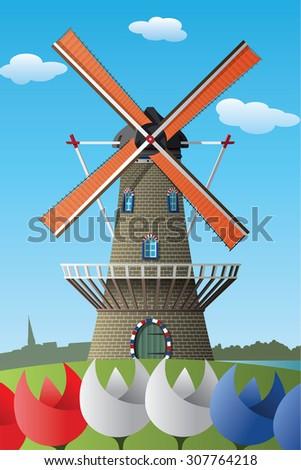 Netherlands windmill - stock vector