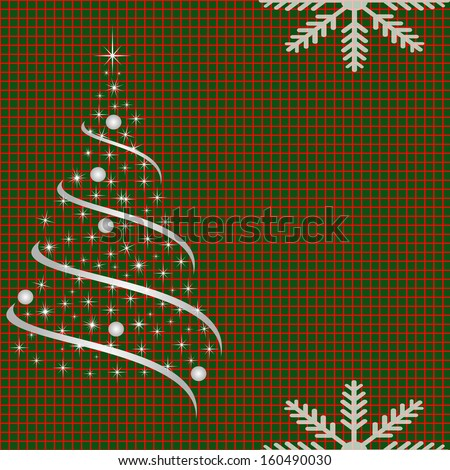 netted background with Christmas tree - stock vector