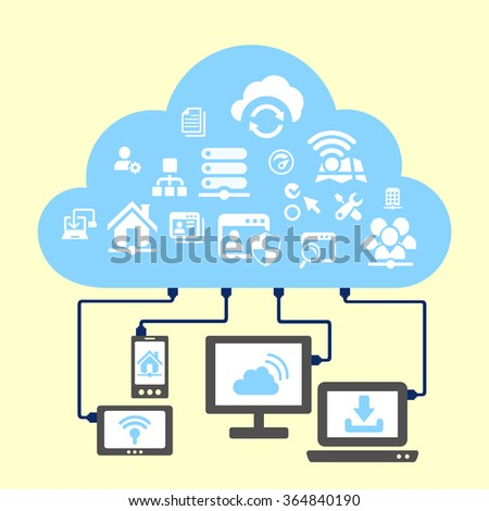 Network and cloud computing concept - icon connect to cloud - stock vector