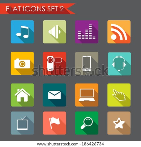 Network and communication flat icons - stock vector