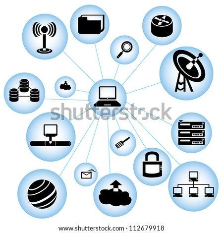network and communication mind mapping - stock vector