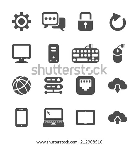 network and computer icon set, vector eps10. - stock vector