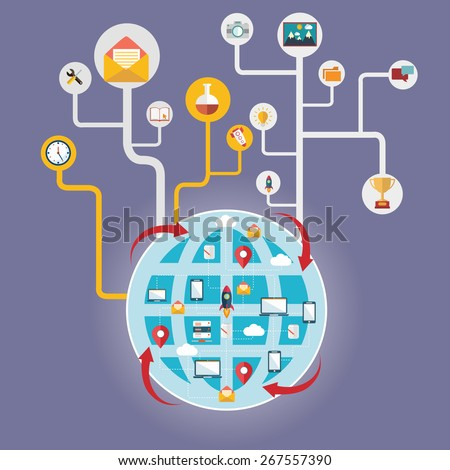 Network and global communication, connecting the world. - stock vector