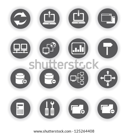 network and internet icon set - stock vector