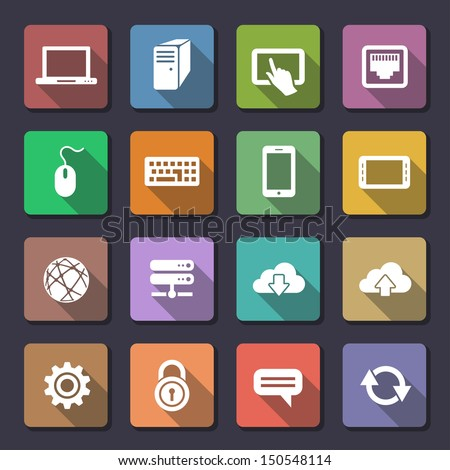 Network and mobile devices. Network connections icons. Flaticons series (metro style flat icons with long shadow) - stock vector