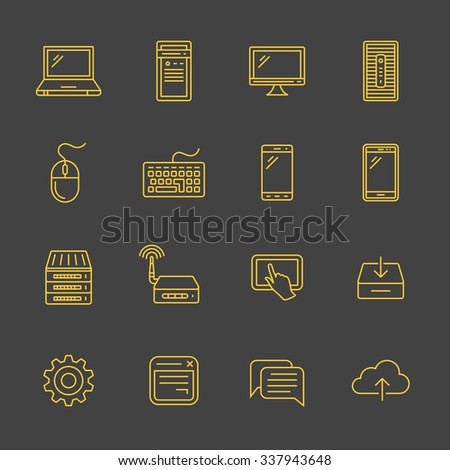 Network and mobile devices. Network connections. Simplus outlined icons. Linear style - stock vector