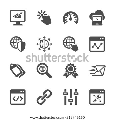network and search engine optimization icon set, vector eps10. - stock vector