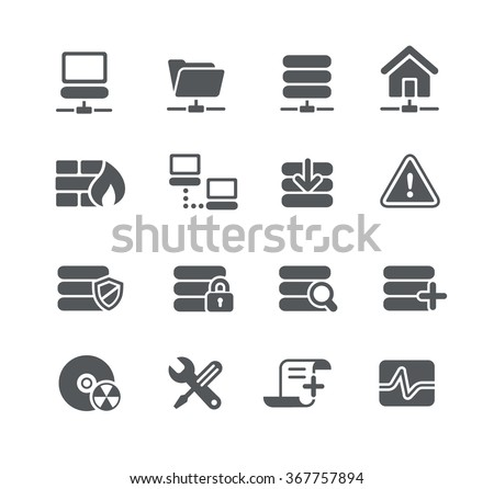 Network and Server Icons // Utility Series - stock vector