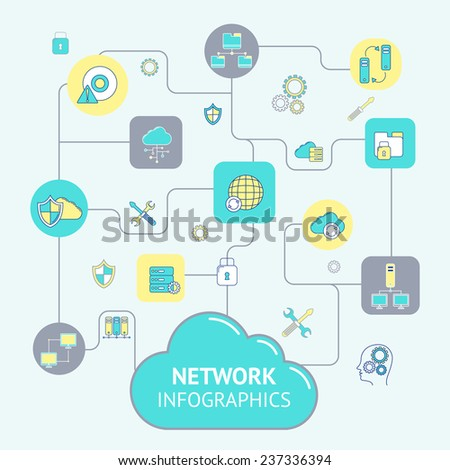 Network and server infographics with cloud computing elements set vector illustration - stock vector