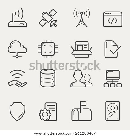 Network and servers icon set in line/stroke style.