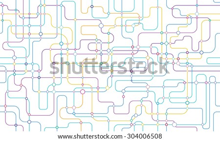 Network background with colourful lines and circles - stock vector