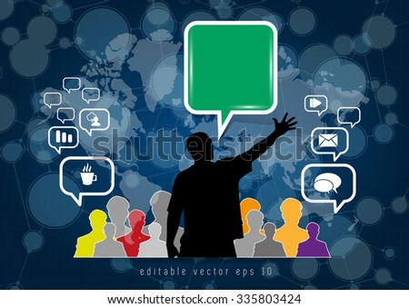 Network background with nodes and social media - stock vector
