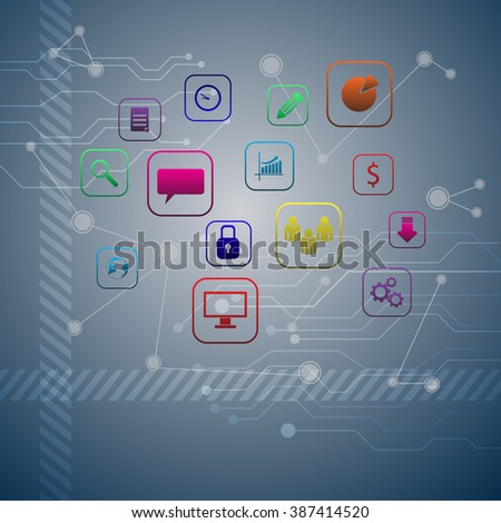 Network background with nodes and social media communication icons vector10 EPS  - stock vector