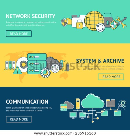Network banners set with security system and archive communication isolated vector illustration - stock vector