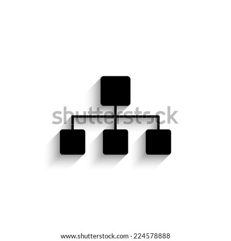 Network - black vector icon with shadow