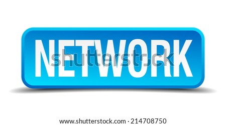 Network blue 3d realistic square isolated button - stock vector
