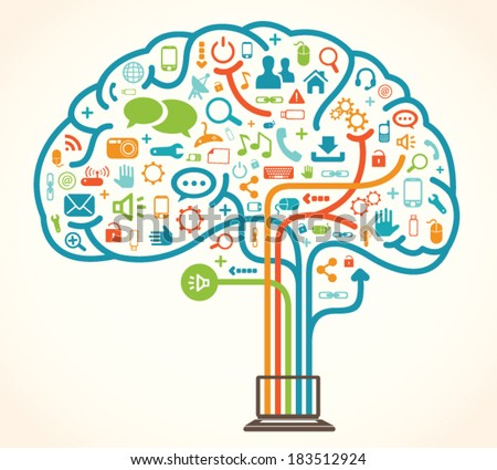 Network Brain - stock vector
