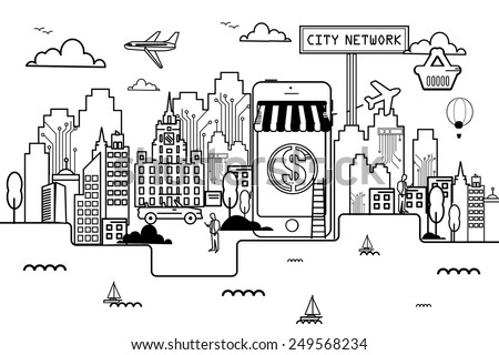 Network City On line shopping Liner - stock vector