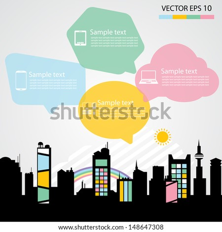 Network communication city - stock vector