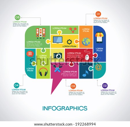 Network communication infographic Template with interface icons, puzzle, speech bubble and text. Network communication concept - stock vector