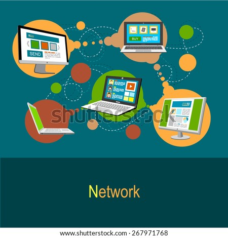 Network concept. Integration of computers in the web. Flat design illustration concept in green colors - stock vector
