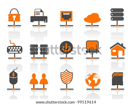 network connection icons set - stock vector