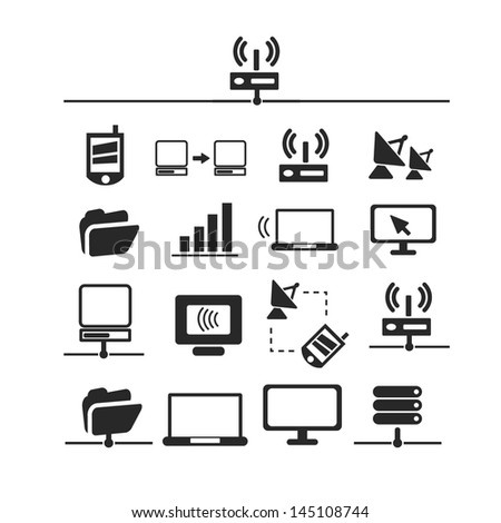 network connection icons, signs set, vector - stock vector