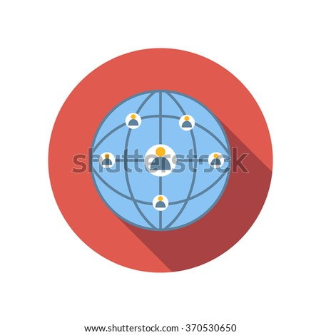 Network connections between people flat icon on a white background - stock vector