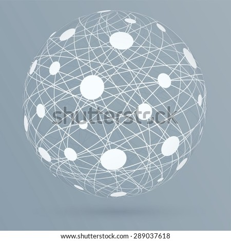 Network connections with circles, global digital connections on blue background.  - stock vector