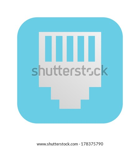network connector RG-45 icon - stock vector