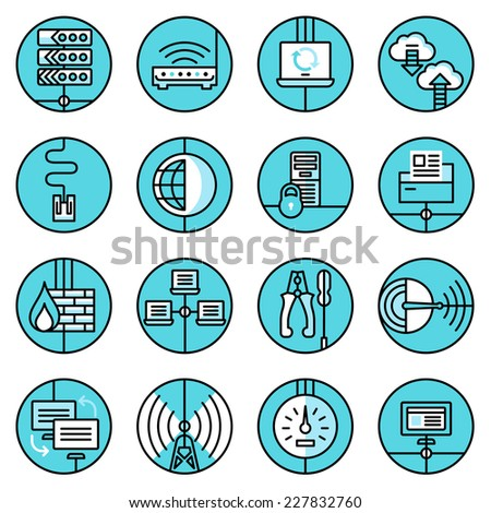 Network data security web technology blue line icons set with control panel router server isolated vector illustration - stock vector