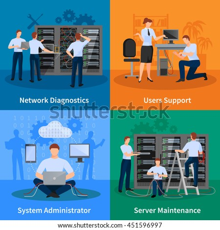 Network engineer and it administrator 2x2 design concept set of network diagnostics users support and server maintenance elements vector illustration    - stock vector