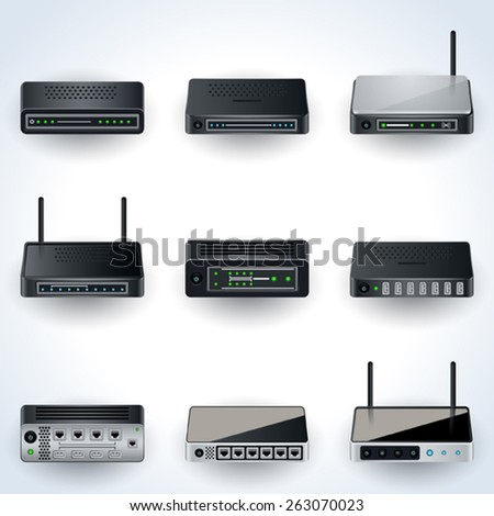 Network equipment icons. Modems, routers, hubs realistic vector illustration.