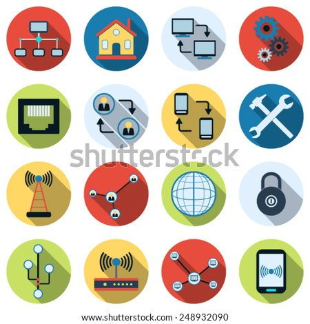 Network flat vector icons. Web design elements collection. - stock vector