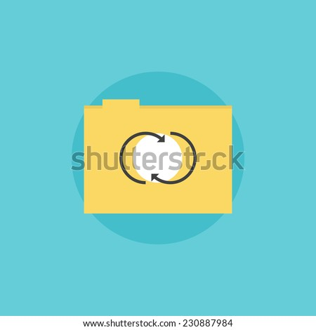 Network folder with updated files, internet storage communication service. Flat icon modern design style vector illustration concept. - stock vector