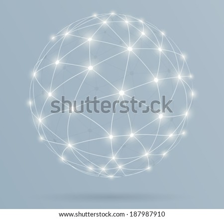 Network, global digital connections with glowing lines  - stock vector