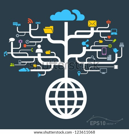 network globe worldwide / vector - stock vector