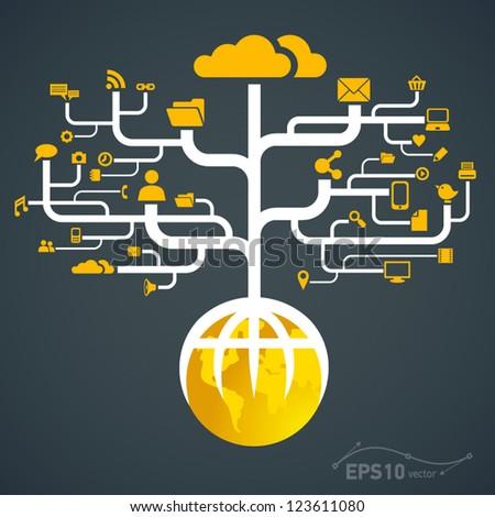 network globe worldwide / vector - stock vector