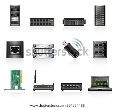 Network hardware icons - stock vector